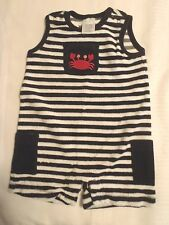 GYMBOREE Boys Size 0-3 Month Navy Striped Crab Shack Outfit NWT