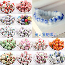 12MM Flower Pattern Round Ceramic Porcelain Loose Spacer Beads Charms Jewellery