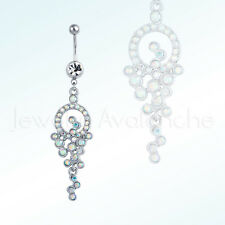 Aurora Borealis CZ Grapes Belly Ring, 14G Barbel 316L Surgical Steel Navel Ring