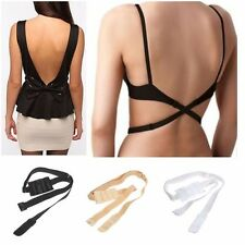 3 PACK WOMENS LOW BACK BRA STRAP EXTENDER BACKLESS TOP SINGLET BLACK WHITE BEIGE