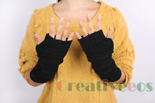 Unisex Fashion Square Knit Fingerless Winter Warmer Fingerless Long Arm Gloves