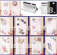 Bling Crystal Diamonds PU leather flip slots wallet pouch book case cover skin 6
