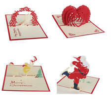Handmade 3D Pop Up Greeting Cards Xmas Wedding Party Invitation Kirigami Cards