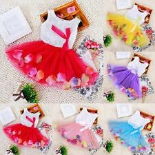 Baby Kids Girls Princess Tulle Dress Lace Bow Floral Tutu Skirt Party Dress A34