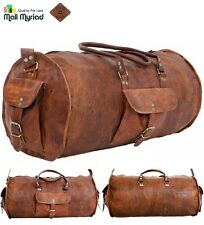 Custom Handmade Vintage Retro Look Genuine Leather Duffel Gym Shoulder Bag Brown