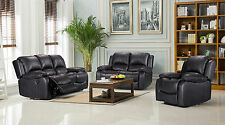 New Electric Valencia Bonded Leather Recliner Sofa Suites - Black or Brown