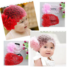 Baby Girl Toddler Flower Lace Headband Hair Band Headwear Beanie Hat 3 Colors