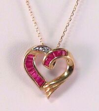 10k Yellow Gold Red Stone Heart Pendant Necklace
