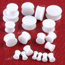 Pair Solid Acrylic White Saddle Flared Ear Plug Tunnnel Expander Earlet Gauges