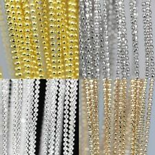 Lots 5m Gold/Silver Plated Copper Ball Charm Necklace Chain Findings DIY 1mm