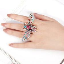Gothic Rhinestone Elastic Cocktail Finger Ring Lady Party Jewelry Turtle Bee Cat