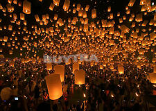 Chinese Sky Lanterns Party Wedding Fly Wishing Lamp Fire Candle Paper 9 Colours