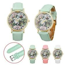 Flowers Women Men UNISEX Leather Band Analog Quartz Dial Wrist Watch Free Ship