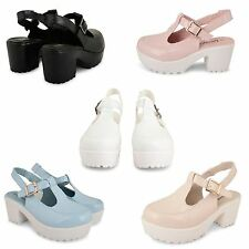 LADIES WOMENS BLOCK CHUNKY HEEL PLATFORM CLEATED SOLE CLOSED TOE SANDALS SHOES