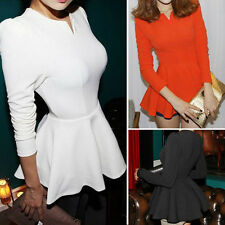 Womens Vintage Puff Sleeves Fitted Peplum Frill Causal Party Tops Blouse