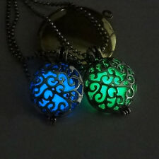 Fashion Women Hollow Oval Totemic Flower Pattern Luminous Charm Pendant Necklace