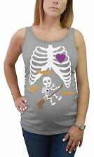 Halloween Pregnant Xray Baby Broom Witch Skeleton Maternity Tank Top Tunic Funny