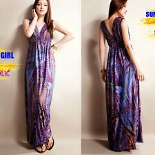 Elegant Peacock Pattern Double V-neck Sleeveless Womens Full Length Maxi Dress