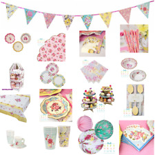 TRULY SCRUMPTIOUS VINTAGE TEA PARTY! CUPS,NAPKINS,PLATES,BUNTING,CAKE STANDS