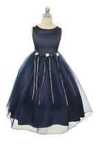 New Navy Blue Flower Girl Dress Pageant Wedding Birthday Party Bridesmaid Baby