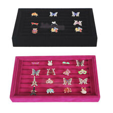 Retail Ring Earring Studs Pin Jewelry Display TRAY BOX Velvet Wood Stand Case