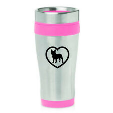 Stainless Steel Insulated 16oz Travel Mug Coffee Cup French Bulldog Heart