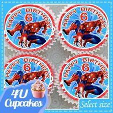 SPIDRMAN HAPPY BIRTHDAY AGES 3 - 10 EDIBLE CUPCAKE TOPPERS RICE PAPER CC510