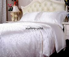 19Momme 100% Pure Silk Duvet Doona Cover Fitted Flat Sheet Set Queen Size J31