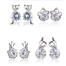 Lady Elegant Silver Plated Star Fox Flower Inlay Round Zircon Stud Earrings Gift
