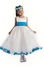 Ivory Pink Rose Petal Wedding Birthday Party Pageant Communion Flower Girl Dress