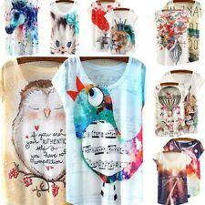 Summer Short Sleeve Loose Cotton Casual Animal Floral Print T-shirt Tops Blouse