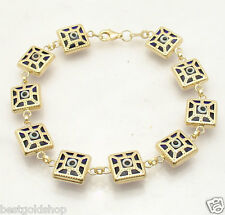 Technibond Square Filigree Evil Eye BRACELET 14K Yellow Gold Clad 925 Silver