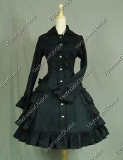 Black Gothic Lolita Victorian Trench Coat Dress Steampunk Theater Clothing C019
