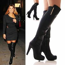LADIES WOMENS OVER THE KNEE BOOTS HIGH HEEL ELASTIC STRETCH BLACK SHOES SIZE