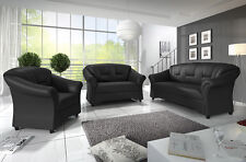 New Texas 3+2 or 3+2+1 Sofas Suite Black Brown Faux Leather High Back Couches