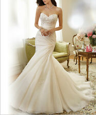 New White/Ivory Wedding Bridal Gown Dress Stock Size 6 8 10 12 14 16 18