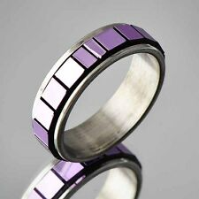 Unique Design stainless steel ring lot size 6 7 8 purple Cubic Zircon band ring
