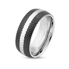 Stainless Steel Unisex Ring Silver Black Cross Etched Line With Center Stripes