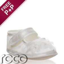 Baby Girls White Shoes Christening Wedding Party Toddler Pram Shoes