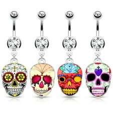 Belly Button Piercing Mexican Sugar Skull Mask Silver Pendant Crystal Stone
