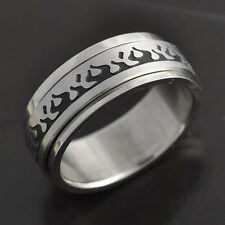 New fashion Stainless Steel Black Enamel Mens Fire Band Ring,size 8 9 12,