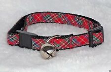 Red Plaid Designer Cat Collar Safety Breakaway Cute Christmas Kitty Small Cute!!