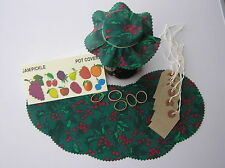 CHRISTMAS HOLLY (Green)  JAM JAR POT COVERS WITH PINKED EDGES+LABELS+BANDS