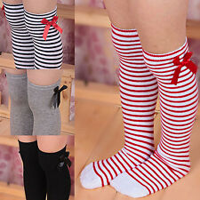 Girls Child Cotton Long Socks Baby Toddler Bowknot Striped Leg Warmers Popular