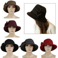 Fashion Vintage Women Ladies Floppy Wide Brim Wool Felt Fedora Cloche Hat Cap