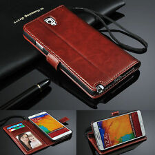 Brown Luxury PU Leather Flip Wallet Stand Case & Screen Guard For Cell Phones