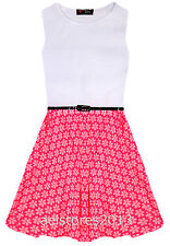 Girls Pink Neon Floral Skater Dress Retro Belted Party White New Age 5-13 Years