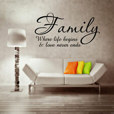 FAMILY LOVE LIFE BEGINS Wall Art Sticker Quote Decal Mural Transfer Stickers