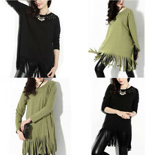 Graceful Women Cotton Blend Long Sleeve Round Neck Rivet Tassels Casual Blouse