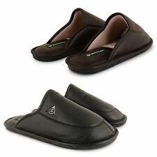MENS DUNLOP FAUX LEATHER SLIP ON BACKLESS SLIPPERS INDOOR HOUSE SHOES SIZES UK